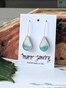Sterling Silver Blue and White Resin Drop Earrings