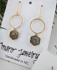 Mini Hexagon Brass And Resin Earrings