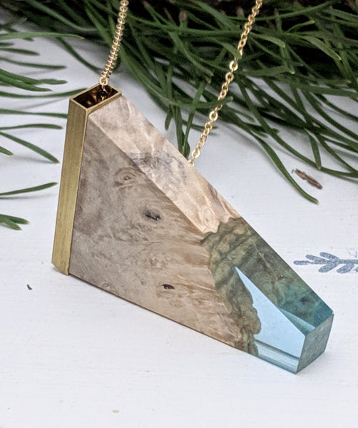 Wood and Blue Resin Triangle Pendant