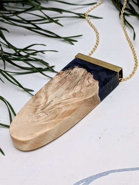 Dark Blue and Wood Pendant with Brass Bar