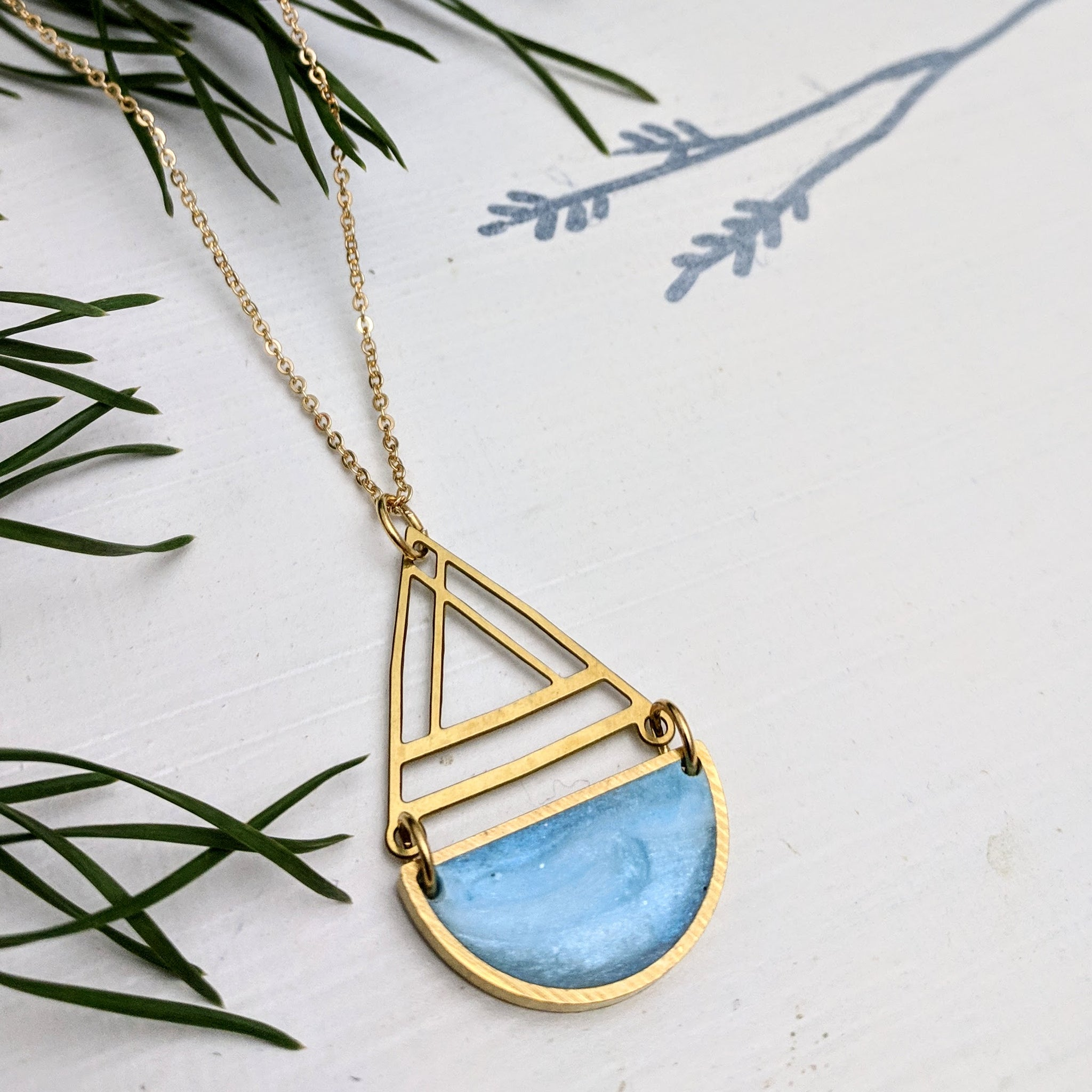 Brass and Resin Boat Necklace with Gold Plated Chain
