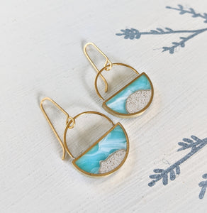 Beach Half Circle Dangle Earrings