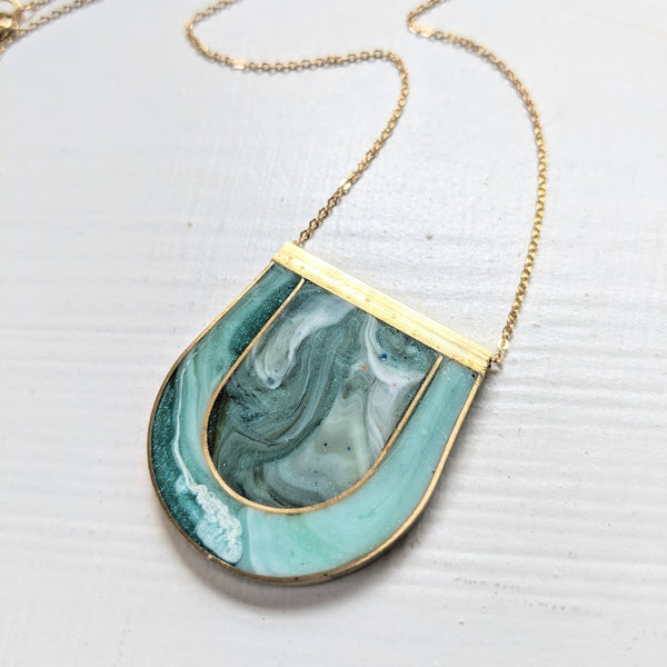 Mother of Pearl Green Inlay Brass Necklace