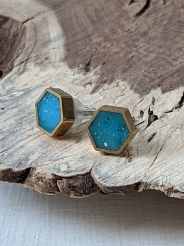 Baby Hexagon Post Earrings