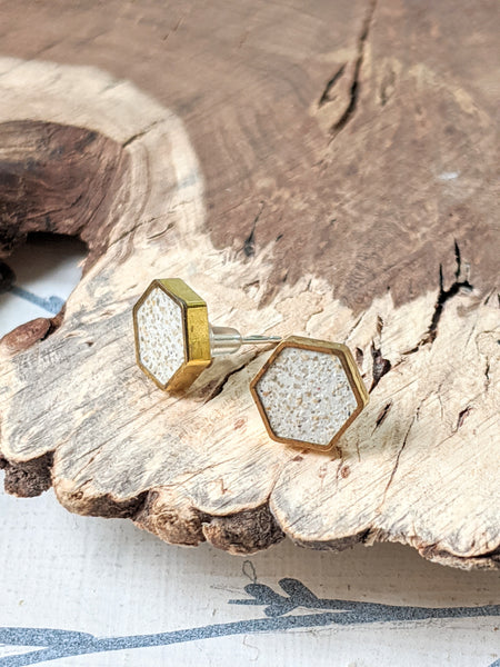 Sand Hexagon Post Earrings