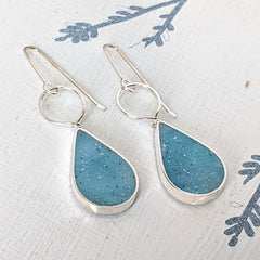 Blue Sterling Silver Drop /Hoop  Earrings