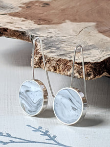 Sterling Silver Marbled Circle Earrings