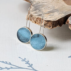 Sterling Silver Blue Circle Earrings