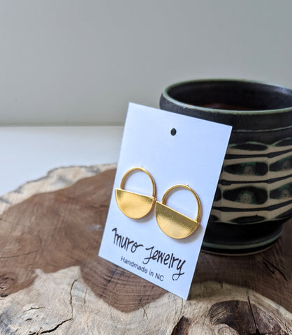 Half Moon Gold Plated Post Earrings