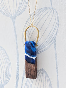 Wood And Resin Arch Pendant - Stormy Sky Landscape