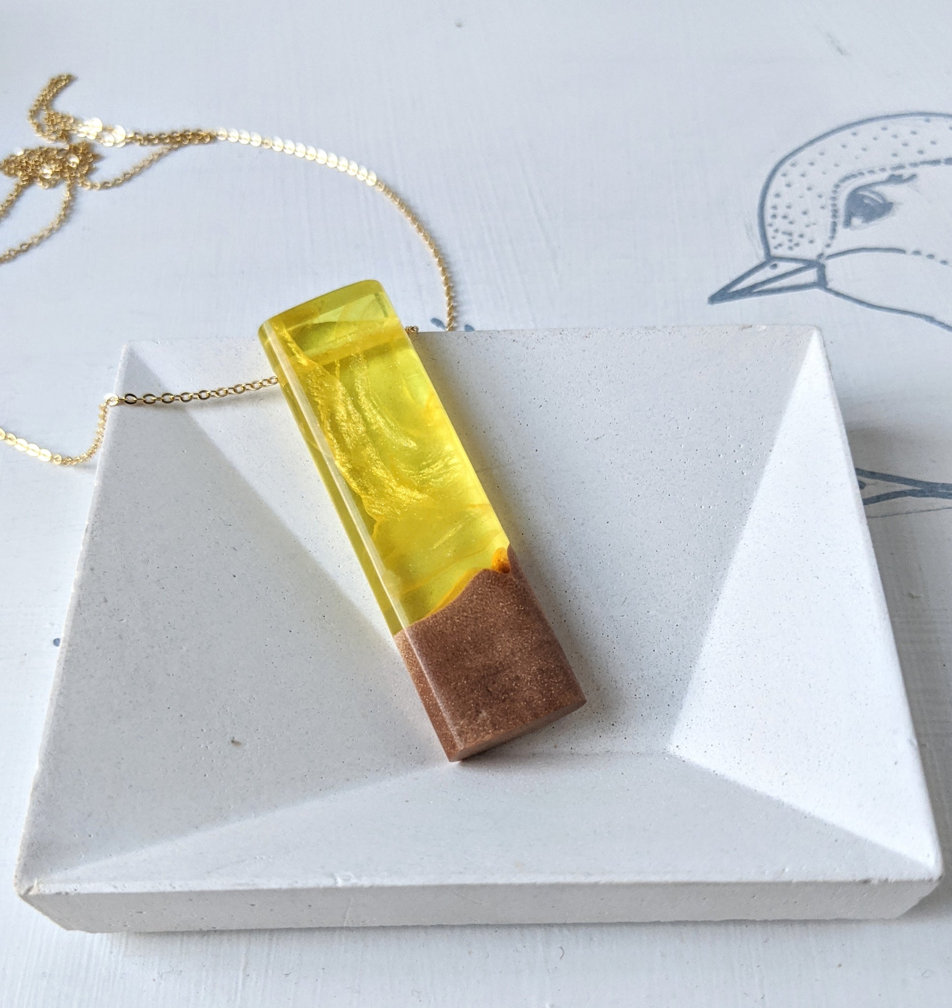Wood and Resin Pendant - Citrine Clouds