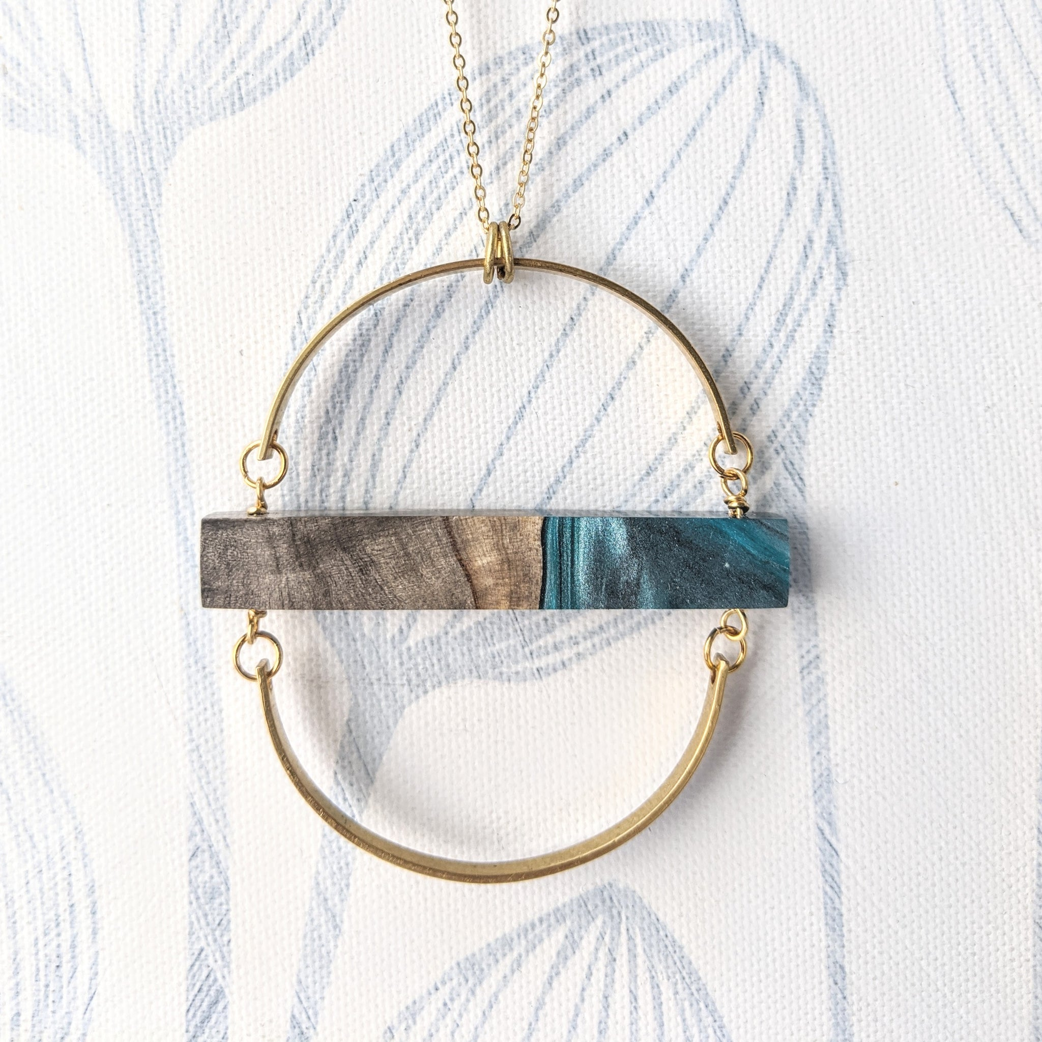 Wood And Blue Marbled Resin Circular Pendant