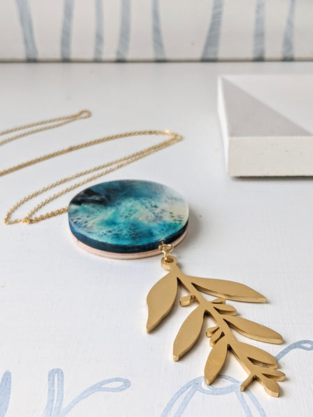 Hand Painted Resin/Wood Circle and Leaf Necklace