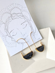Brass Gray and Black Swirling Resin Half Moon Arch Earrings