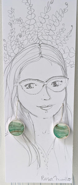 Sterling Silver Green and White Circle Earrings