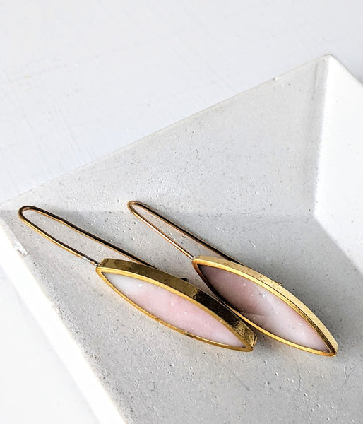 Brass Light Pink Resin Marquis Earrings