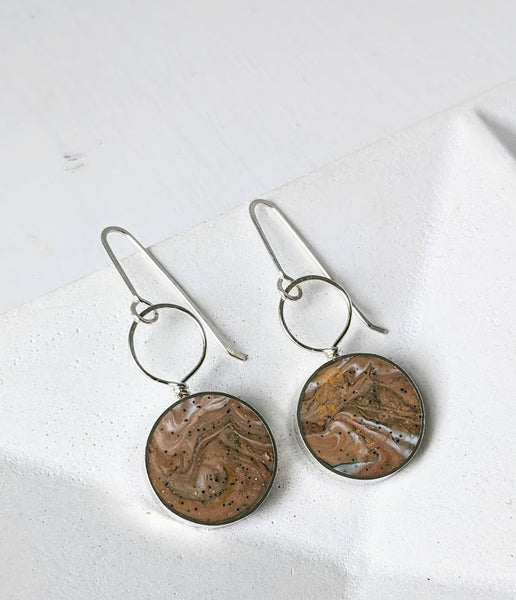 Sterling Silver Earth Clay Resin Earrings with Loop