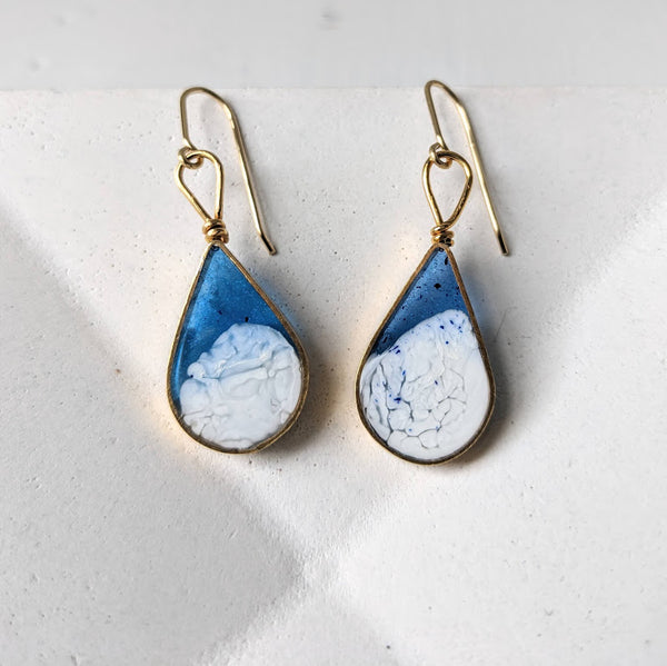 Brass Blue and White Resin Teardrop with Loop Earrings