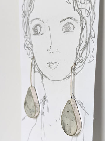 Sterling Silver Marbled Teardrop Earrings