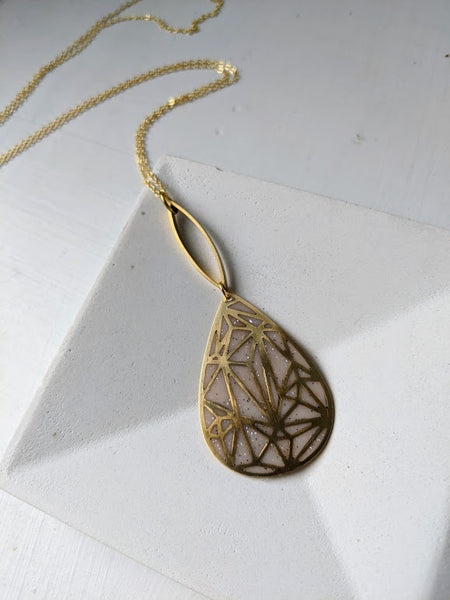 """Geometrix"" Teardrop Resin Pendant"