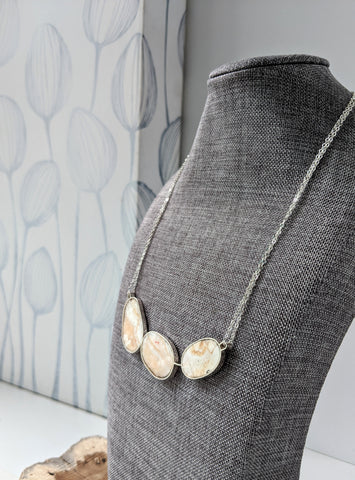 Coral Marble Museum Collection Sterling Silver Statement Necklace