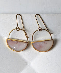 Brass Light Pink Resin Half Moon Earrings