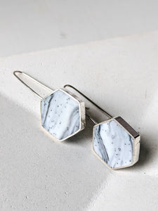 Sterling Silver Marbled Hexagon Earrings