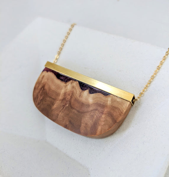 Swirling Aurora Wood and Resin Necklace