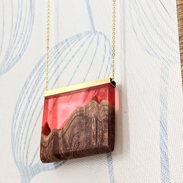 """Fiery Sky"" Landscape Wood and Resin Necklace"