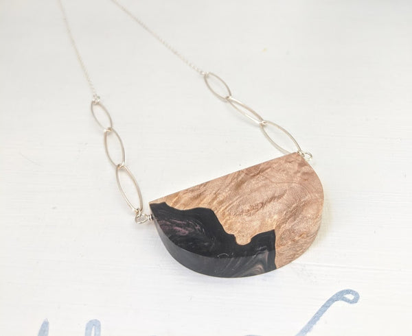 Dark Purple and Black Wood and Resin Silver Necklace