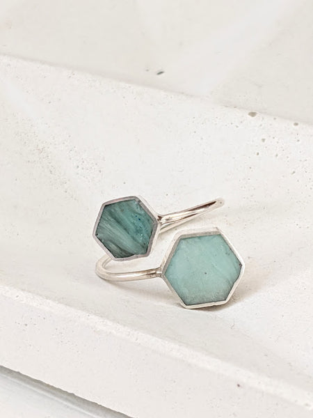 Sterling Silver Double Hexagon Light Blue Resin Ring