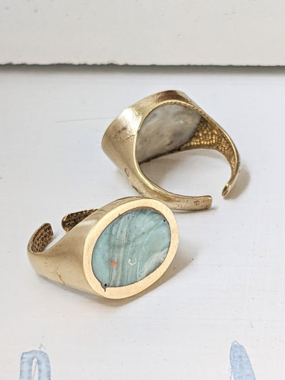 Blue Marbled Stone Resin Brass Oval Ring