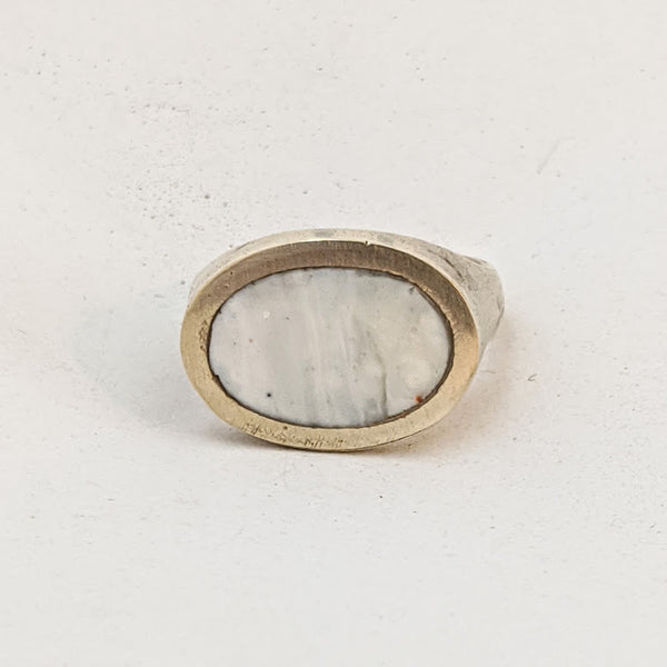 White Resin Oval Ring