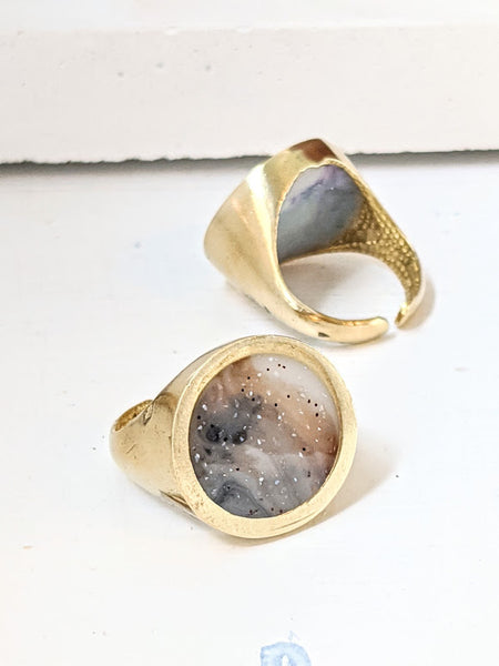 Earthy Tones Circle Resin Ring
