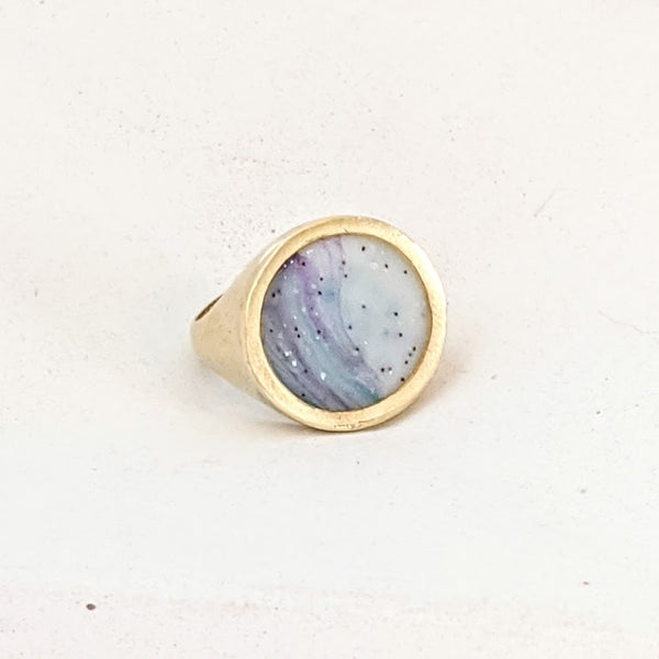 Light Blue and White Circle Resin Ring