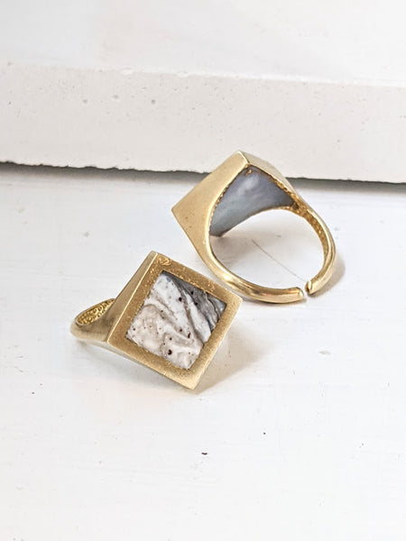 Marbled Black & White Stone Resin Ring