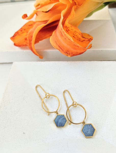 Mini Blue Hexagon Brass And Resin Earrings