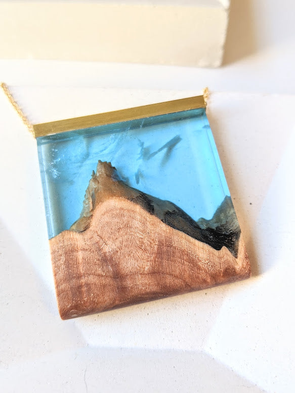 Smoky Mountains Wood and Blue Sky Resin Landscape Necklace