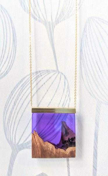 Deep Purple Mountain Range Wood and Resin Necklace
