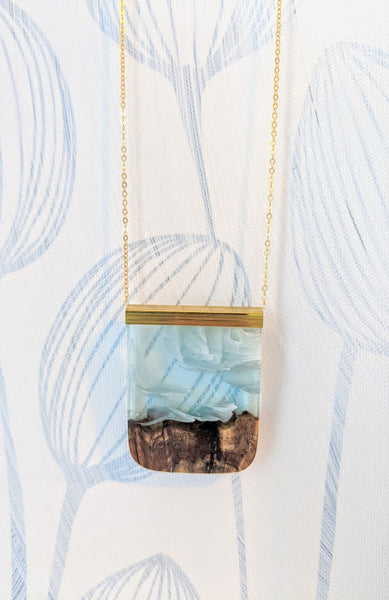 Cloudy Blue Skies Landscape Wood and Resin Necklace
