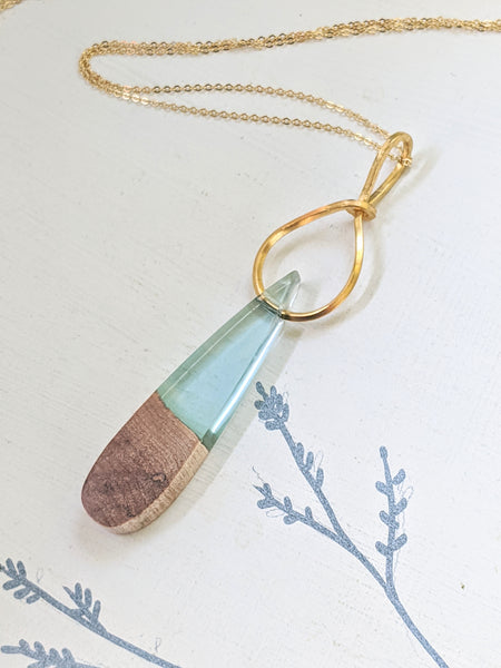 Wood and Resin Drop Necklace