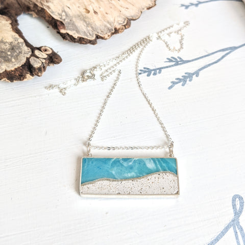 Large Sterling Silver Beach Scene Necklace