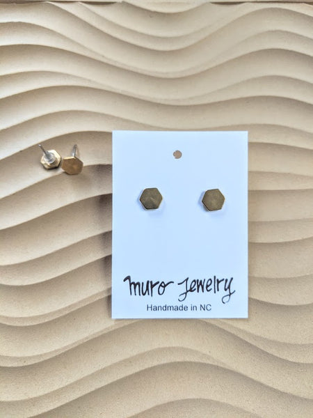 Mini Brass Post Earrings - Timeless Look