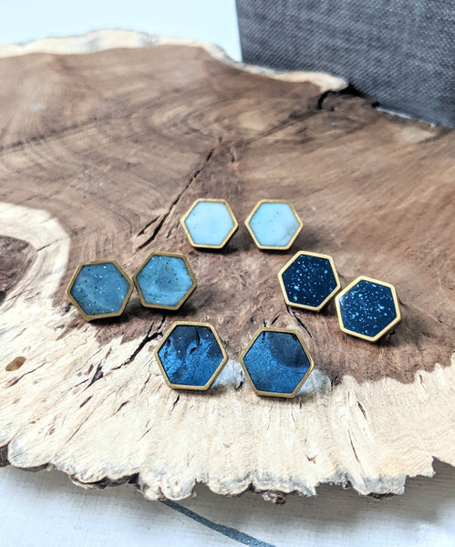 Large Hexagon Post Earrings