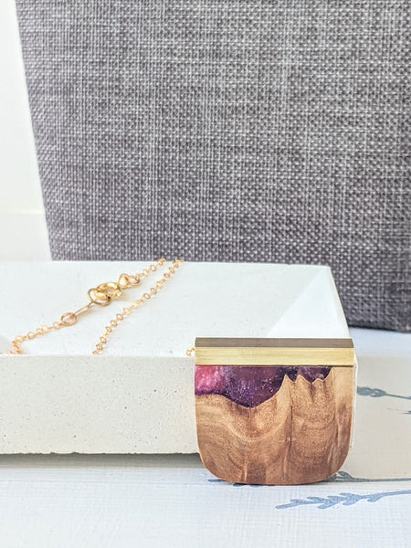 Nebula Wood And Resin Rounded Pendant With Brass Bar