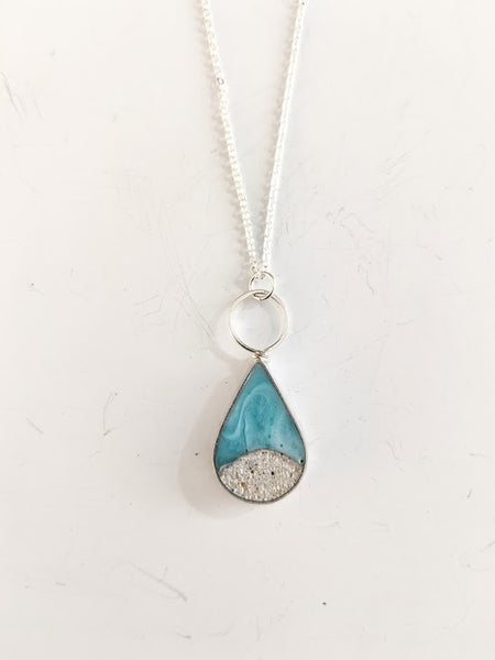 Sterling Silver Teardrop Beach Scene with Loop Necklaces
