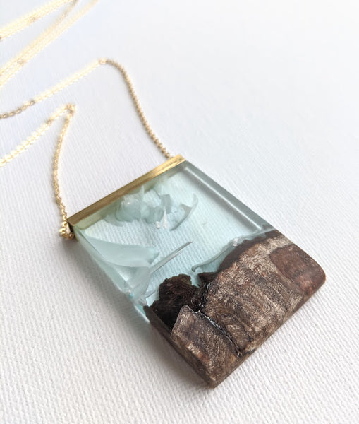 """Playful Clouds"" Landscape Wood and Resin Necklace"