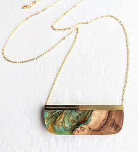 Turquoise Underwater Cave Resin and Wood Necklace