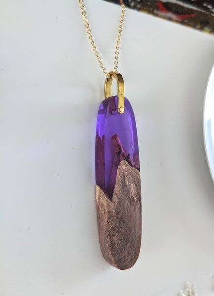 Amethyst Resin and Wood Oval Necklace
