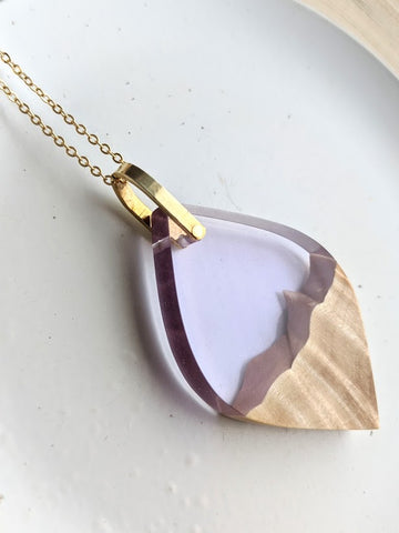Almond Lavender Resin and Wood Necklace